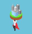 isometric businessman carrying business building vector image vector image