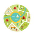 map of campsite traveling camping vector image vector image