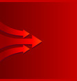 moving forward arrow on red background vector image vector image