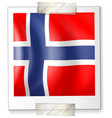 Norway flag on square paper
