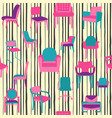 pattern with different kinds chairs in flat vector image vector image