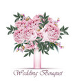 peonies wedding bouquet vintage floral vector image
