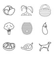 piece of meat icons set outline style vector image vector image