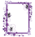 Purple frame flowers vector image vector image
