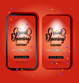 red grand opening mobile promotion template vector image vector image