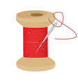 Red thread wooden spool vector image vector image