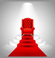 royal armchair on stairs with red carpet vector image vector image