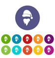 santa claus hat and beard set icons vector image vector image