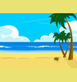 scenery with tropical beach and palm trees vector image vector image