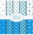 Set of blue geometric seamless polka dot pattern vector image vector image