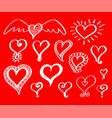 set of doodle hearts vector image