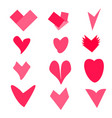 set of pink hearts on white background vector image vector image