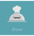 Silver platter cloche Chef hat with curl moustache vector image vector image