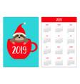 sloth sitting in red coffee tea cup santa hat vector image