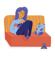 smiling girl woman relaxing on sofa happy alone vector image
