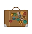 Suitcase with stickers vector image vector image