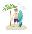 summer banner man on the beach is standing under vector image