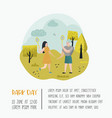 summer landscape active people playing badminton vector image