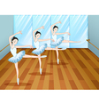Three ballet dancers inside the studio vector image