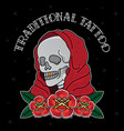 traditional tattoo skull flash vector image vector image