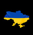 ukraine flag in form map ukraine national vector image vector image