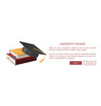 university degree web books pile and academic hat vector image