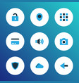 user icons colored set with payment camera vector image vector image
