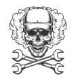 vintage monochrome skull wearing baseball cap vector image