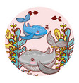 whale couple animal with seaweed plants vector image vector image