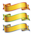 wide gold ribbons with colored trim vector image vector image