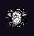 wood barrel in linocut style vector image vector image