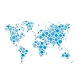 world map mosaic of blue dots in various vector image