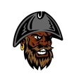 Yelling cartoon bearded pirate in captain hat vector image vector image