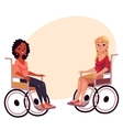 Young black and caucasian women in wheelchairs vector image