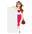 Young fashion woman leaning on blank white board vector image vector image