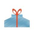 drawing gift box wrap red ribbon vector image