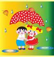 two children a boy and a girl under an umbrella vector image