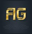 a and g - initials or golden logo ag - metallic