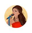 banner concept entertainment a girl sings karaoke vector image vector image
