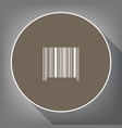 bar code sign white icon on brown circle vector image vector image