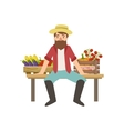 Bearded Farmer Sitting On The Bench With Crates Of vector image vector image