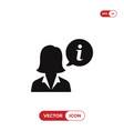 businesswoman and info sign icon vector image vector image