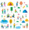 camping nature set icons vector image