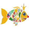 Cartoon color gold fish over white vector image vector image