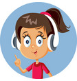 cheerful cartoon girl wearing headphones pointing vector image