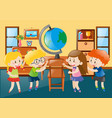 children in geography classroom vector image