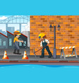 construction worker in town vector image