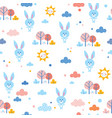 cute bunnies seamless pattern vector image