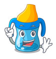 finger baby training cup isolated on mascot vector image vector image