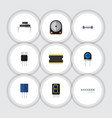 flat icon device set of microprocessor memory vector image vector image